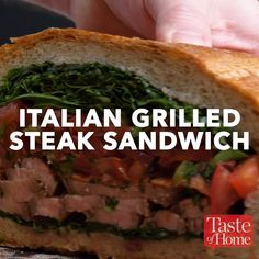 Italian Grilled Steak Sandwich Recipe Italian Grilled Steak Sandwich Recipe Meals & Drink presents you the very best recipes and distinctive photographs from everywhere in the world. Steak Sandwich Recipes, Grilled Steak Recipes, Grilled Meat, Grilling Recipes, Beef Recipes, Cooking Recipes, Steak Sandwiches, Healthy Recipes, Italian Sandwiches