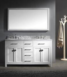 It is possible to have double sinks in a small master bathroom  Creamy  white white Restoration Hardware Hutton Medicine Ca    Pinteres The Brooklyn Home Co  It is possible to have double sinks in a  . Double Sink Vanity For Small Bathroom. Home Design Ideas