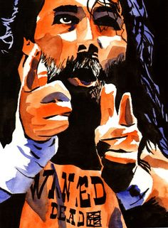 "Mick Foley  l  Ink and watercolor on 9"" x 12"" watercolor paper l #WWE"
