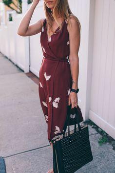 transitional summer to fall midi dress