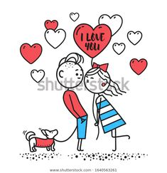 Стоковая векторная графика «Kiss Girl Hold Ball Kisses Boy» (без лицензионных платежей), 1640563261 White Puppies, Kittens And Puppies, White Dogs, Valentines Day Cartoons, Happy Valentines Day Card, Deer Vector, Cat Vector, Black And White Dog, Cat Character