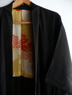 Kimono jacket - Japanese vintage - black silk - floral brocade - family crest - WhatsForPudding