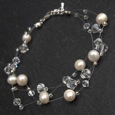 Multi Strand Pearl And Crystal Bridal Bracelet  by WeddingAndGems, £25.99
