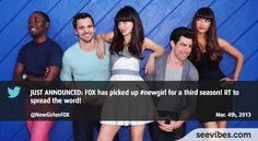 March 4th 2013: New Girl will come back with a new fresh season and the announcement creates buzz on Twitter in Canada - #Seevibes #TopRetweet #Twitter #NewGirl - https://twitter.com/NewGirlonFOX/status/308685606949621760