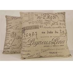 @Overstock - Brown antique script inspired by old documents highlights the beige background of these decorative pillows. This set of pillows features knife edging and a durable cotton- and linen-blend construction.http://www.overstock.com/Home-Garden/Antique-Script-Decorative-Throw-Pillows-Set-of-2/6112899/product.html?CID=214117 $56.99