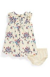 Tea Collection 'Field of Flowers' Ruffle Sleeve Dress (Baby Girls)