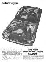 Subaru GL, Coupe 1972 Ad Picture