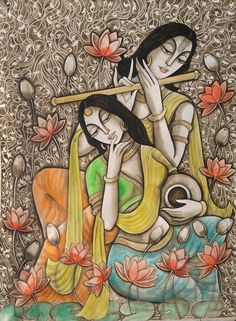 UNTITLED Indian Traditional Paintings, Indian Art Paintings, Modern Art Paintings, Indian Artwork, Traditional Art, Kerala Mural Painting, Madhubani Painting, Zantangle Art, Mural Art