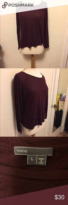 Vince women's long sleeves knit raglan tee The Vince long sleeves knit raglan tee is the perfect layering piece. Wear alone or put with a sweater or vest for that perfect layered look. Good used condition. Love this neckline. Vince Tops