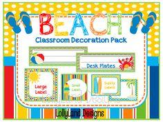 Beach Classroom Decoration Pack- $55 www.etsy.com/shop/lollylanddesigns