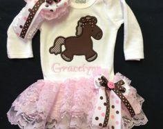 Newborn Baby Girl Monogramed  Horse Bodysuit by PurttyStitches