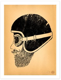 "Motorcycle Art 11"" x 14"" Art Print ""Moto Head"". $50.00"