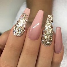 ✨ REPOST - - • - - Nude and Gold Glitter on long Coffin Nails ⭐ - - • - - Picture and Nail Design...