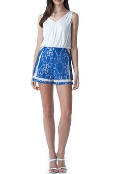 Blue and white lace Romper Lace bottom and white top with a zipper closure. Perfect with a wedge!  Blue Lace Romper by Patty's Closet. Clothing - Jumpsuits & Rompers - Rompers Las Vegas