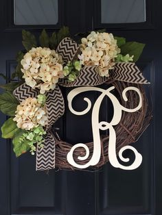 All Year Long Wreath - Gift Ideas - Monogram Wreath - Wreath - Spring Wreath - Summer Wreath - Fall Wreath - Housewarming Gift - Wreaths by jennyCmoon on Etsy https://www.etsy.com/listing/260420216/all-year-long-wreath-gift-ideas-monogram