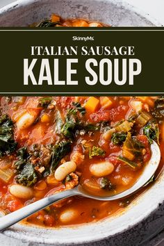 Italian Sausage Kale Soup Clean Eating Slow Cooker Recipe, Clean Eating Recipes For Dinner, Clean Eating Meal Plan, Healthy Meal Prep, Healthy Foods, Healthy Recipes, Healthy Dinners, Sausage And Kale Soup, Turkey Sausage