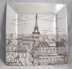 222 Fifth City Scenes Paris Eiffel Tower square dinner plate 10.25 inches & 222 Fifth City Scenes Paris Square Sepia Dinner Plate - Eiffel Tower ...
