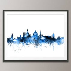 Oxford Skyline Cityscape Art Print by artPause, the perfect gift for Explore more unique gifts in our curated marketplace. Cityscape Art, Skyline Art, Oxford England, London England, Music Collage, Poster Prints, Framed Prints, Canvas Art, Canvas Prints