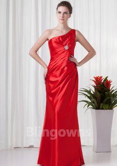 Zipper One Shoulder Taffeta Red Ruched Mermaid Sleeveless Floor Length Evening / Prom Dresses