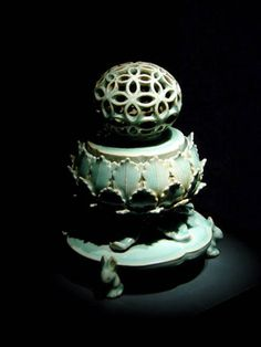 Early ceramic Korean incense burner.  I have one like this--, Love the carved and sculpted base, love the pierced top, it's all gorgous. #form, #inspiration