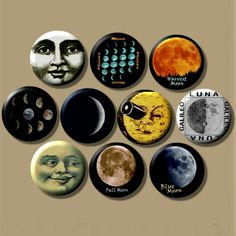 The Moon Lunar celestial astronomy pagan pinback button set by Yesware11 on Etsy!
