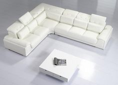 Canon - Modern White Leather Sectional Sofa - Furniverse