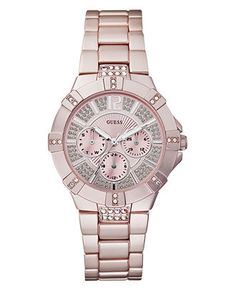 GUESS Watch, Women's Light Pink Aluminum Bracelet 41mm U12657L2 - All Watches - Jewelry & Watches - Macy's