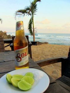 Limes and Sol beer, Zipolite Beach