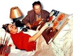 Frida Kahlo y Diego Rivera  I have always wondered if she was able to keep her sheets clean....