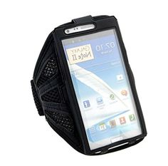 """myLife Inky Black with Flex Mesh {Rain Resistant Velcro Secure Running Armband} Dual-Fit Jogging Arm Strap Holder for Samsung Galaxy Note Edge """"All Ports Accessible"""" myLife Brand Products http://www.amazon.com/dp/B00UGHQK7Y/ref=cm_sw_r_pi_dp_mkBhvb02HXQ5A"""