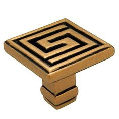 Anne at Home Greek Key Square Knob Finish: Antique Gold Cabinet And Drawer Knobs, Kitchen Cabinet Handles, Kitchen Cabinets In Bathroom, Knobs And Handles, Door Handles, Cabinet Hardware, Brass Hardware, Cupboard, Decorative Knobs