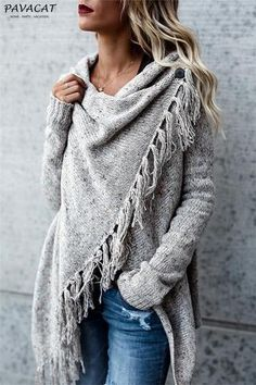 Purchase Women's Tassel Hem Sweater Long Cardigan Knitwer Pullover Poncho Coat from Guoguo on OpenSky. Share and compare all Sweaters in . Mode Outfits, Casual Outfits, Fashion Outfits, Womens Fashion, Tween Fashion, Women Fashion Casual, Women's Casual, Dress Casual, Ladies Fashion