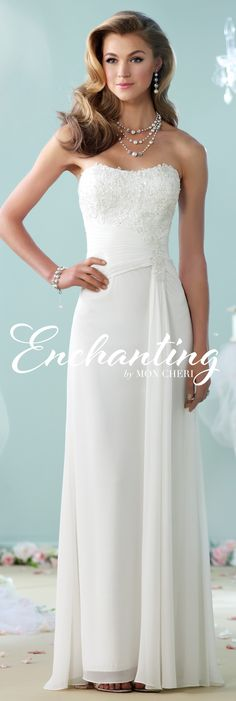 Enchanting by Mon Cheri - The Premiere Collection ~Style No. 215106 #chiffonweddingdresses