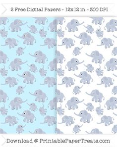 Free Printable Baby Elephant Digital Papers