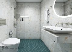 Kohler Bathroom, Pool Bathroom, Budget Bathroom, Small Bathroom, Bathroom Ideas, Digital Showers, Open Showers, Vanity Design, Classic Bathroom