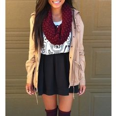 # Brown Leather Jacket # Maroon Scarf # White Designed Top # Black Skirt # Brown Boots