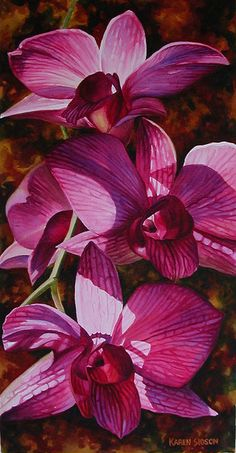 flower, orchid, vibrant watercolor painting