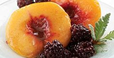 Lavender-Poached Peaches & Blackberries | KitchenDaily.com