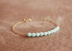 sky blue  beaded bar gold bracelet   on Etsy