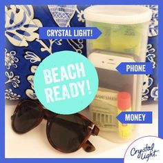From Crystal Light.  How to Beach-proof your belongings.  Use an empty Crystal Light container Crystal Light Containers, Reuse Containers, Hacks Diy, Home Hacks, Beach Items, Light Crafts, Diy Organization, Organizing Ideas, Recycle Plastic Bottles