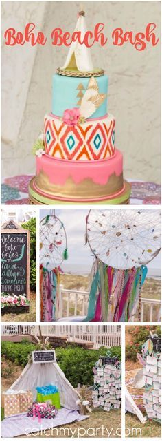 So many amazing details at this beautiful boho beach bash! See more party ideas at CatchMyParty.com!