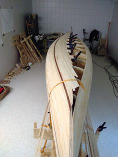 Nearly finished first half of bottom. Wood Canoe, Canoe Boat, Canoe Trip, Canoe And Kayak, Boat Shelf, Small Boats, Kayaks, Canoeing, Small House Plans
