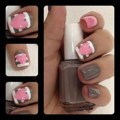 Pale, Striped Nails with Hearts, Gray and white nails with pale hearts.
