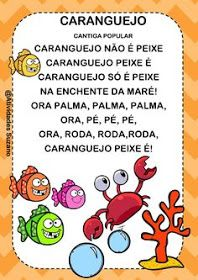 "CANTIGA POPULAR ""CARANGUEJO NÃO É PEIXE"" Atividades possíveis: Activities For Kids, Crafts For Kids, Portuguese Language, Kids Songs, Book Of Shadows, Kids Education, Kids Learning, Elementary Schools, Classroom"