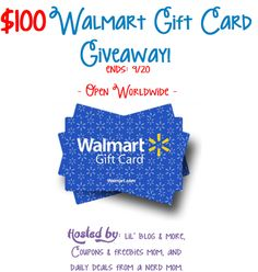 Enter to win the $100 Walmart Gift Card Giveaway! Open to Worldwide entries! The…