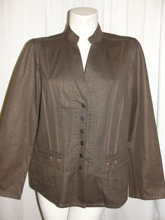 Coldwater Creek Sz 16 Shimmer Copper Brown Cotton Button Front Denim Jacket LS #ColdwaterCreek #BasicJacket #WorkCareerCasual