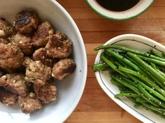 "Dinner: A Love Story ""Dumpling"" Meatballs with Sesame Green Beans 