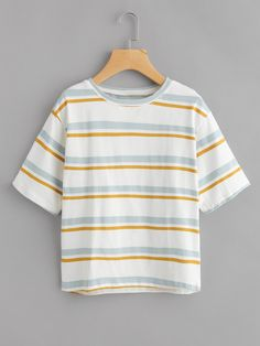 00bc846ab09a Contrast Striped Tee Casual T Shirts