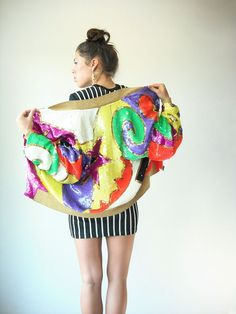 5ffc85b71bbf Vintage 80's Avant Garde Graphic RAINBOW Sequin Bomber Jacket by  viralthreads: Vintage 80S, Garde