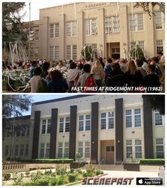 """Though """"Fast Times at Ridgemont High"""" was set in San Diego, most of the 1982 movie was shot in the San Fernando Valley. Based on Cameron Crowe's undercover book about Clairemont High in San Diego, the school's name was changed to Ridgemont (but actually is Van Nuys High)  Described as """"amazing"""" by the Huffington Post and Mental Floss, the FREE """"ScenePast: Movie & TV Time Travel"""" app showcases OVER 1000+ exact Movie & TV locations THEN & NOW. Visit us at http://ScenePast.com"""